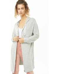 Forever 21 - Longline Marled Knit Hoodie - Lyst