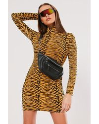 Missguided - Tiger Print Bodycon Dress At - Lyst