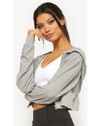 Forever 21 - Active Cropped Zip-front Hoodie - Lyst