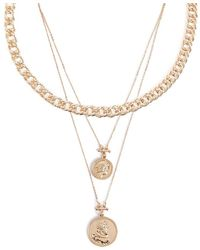 Forever 21 - Layered Coin Pendant Chain Necklace Set - Lyst