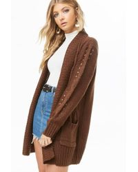 Forever 21 - Longline Cable Knit Cardigan - Lyst