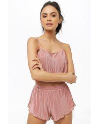 Forever 21 - Women's Satin Accordion-pleat Cami & Short Pyjama Set - Lyst
