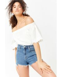 fcdf2c1d94 Forever 21 Frayed High-waist Denim Shorts in Blue - Lyst
