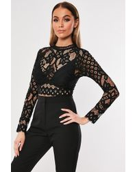 Missguided Eyelash Lace Top At , Black