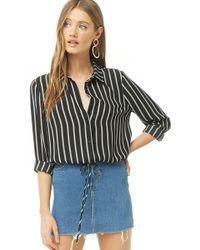 344e8df286b2b4 Forever 21 - Women's Striped Chiffon Tie-hem Shirt - Lyst