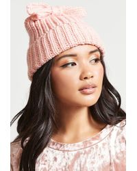 Forever 21 - Floppy Bow Cable Knit Beanie - Lyst