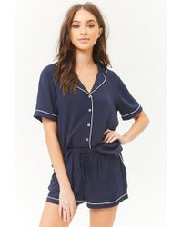 Forever 21 - Piped-trim Shirt & Shorts Pyjama Set - Lyst
