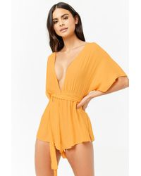 Forever 21 - Plunging Swim Cover-up Romper - Lyst