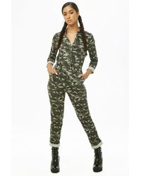 4d4ba333195d Forever 21 Camo French Terry Jumpsuit in Pink - Lyst