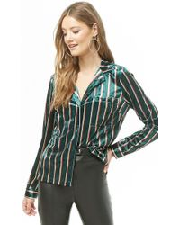 Forever 21 - Striped Crushed Velvet Shirt - Lyst