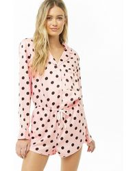 6fc5933ed1aa Forever 21 Watermelon Button-front Pajama Romper in Pink - Lyst