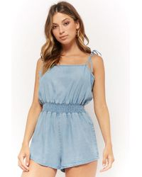 a962cdf176c Forever 21 - Women s Self-tie Chambray Playsuit - Lyst