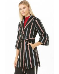 Forever 21 - Striped Wrap Coat - Lyst