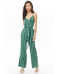 52fae4fb548 Forever 21 - Women s Striped Cami Jumpsuit - Lyst