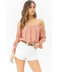 Forever 21 - Distressed Denim High-waisted Shorts - Lyst