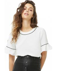 Forever 21 - Contrast Piped Crepe Top - Lyst
