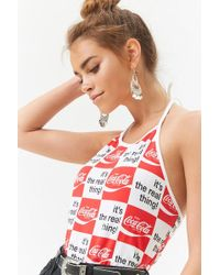652213c3e39e7 Forever 21 - Women s Coca-cola Chequered Halter Top - Lyst