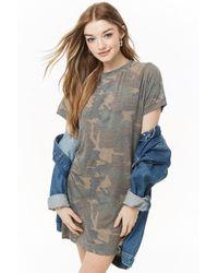 f461b096a78f Forever 21 - Women's Faded Camo T-shirt Dress - Lyst