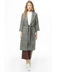 Forever 21 - Glen Plaid Wrap Coat - Lyst