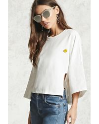 Forever 21 - Boxy Happy Face Pin Top - Lyst