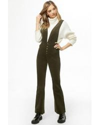 Forever 21 - Plunging Corduroy Overalls - Lyst