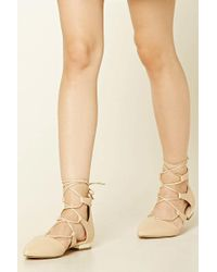 Forever 21 - Women's Lace-up Faux Leather Flats - Lyst