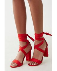 5d49bfbf51b410 Forever 21 Faux Patent Leather Lace-up Heels in Red - Lyst