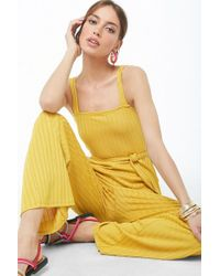 eb650ea5d52 Forever 21 Wide-leg Cami Jumpsuit in Yellow - Lyst