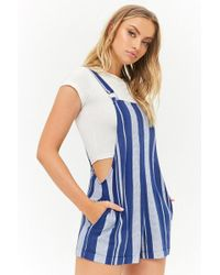 Forever 21 - Striped Linen-blend Overall Shorts - Lyst