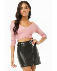 88e7d862e8a Forever 21 Ribbed Snap-button Crop Top in Red - Lyst