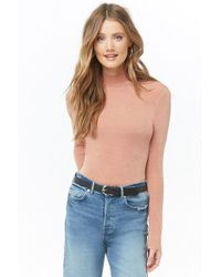 Forever 21 - Sheeny Mock Neck Top - Lyst