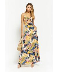 8af9de77234 Forever 21 - Women s Nature Print Cutout Maxi Dress - Lyst