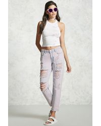 Forever 21 - Women's Distressed Boyfriend Jeans - Lyst