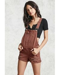 Forever 21 - Distressed Overall Shorts - Lyst