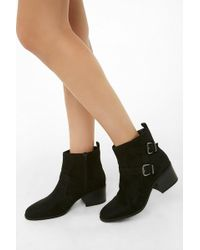 Forever 21 - Faux Suede Double-buckle Boots - Lyst