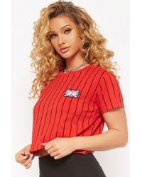 1ca58494e62 Forever 21 - Women s Striped United Kingdom Flag Patch Tee Shirt - Lyst