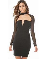 822c6518eaa Forever 21 - Women s Sheer-sleeve Cutout Mini Dress - Lyst