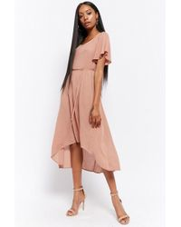 Forever 21 - Flutter-sleeve High-low Dress - Lyst