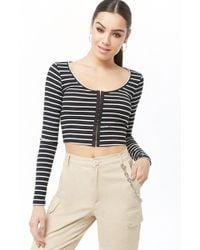 abaa3bf54bc Forever 21 Velvet Bell-sleeve Crop Top in Black - Lyst