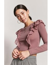 Forever 21 - Ruffle-trim Ribbed Top - Lyst