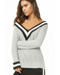 Forever 21 Purl Knit Varsity Sweater , Grey
