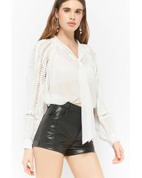 Forever 21 - Sheer Pussycat Bow Top - Lyst