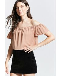 Forever 21 - Contemporary Flowy Crop Top - Lyst