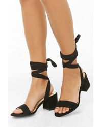 ac086764de Forever 21 Faux Suede Embroidered Heels in Black - Lyst