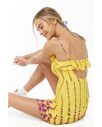 Forever 21 - Floral Button-front Dress , Yellow/purple - Lyst
