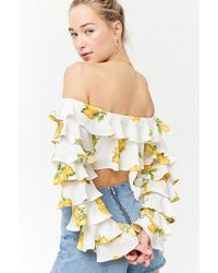 a9a28138a6c Lyst - Forever 21 Women s Embroidered Lemon Graphic Cropped Tube Top
