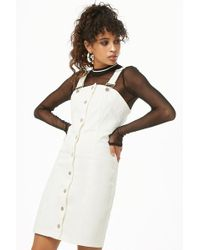 Forever 21 - Denim Overall Button-front Mini Dress - Lyst
