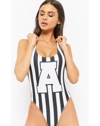 4f85000f8ea5a Forever 21 - Striped Graphic One-piece Swimsuit - Lyst