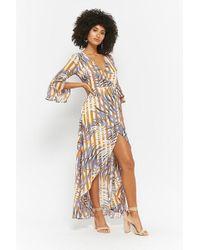 Forever 21 - Striped & Foliage Print Wrap Maxi Dress - Lyst