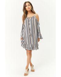 Forever 21 - Striped Open-shoulder Ruffle Dress - Lyst